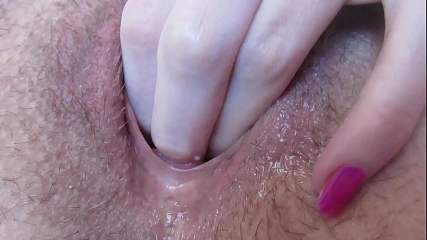 Extreme close up wet pussy fingering gaping and creampie with big erected clitoris
